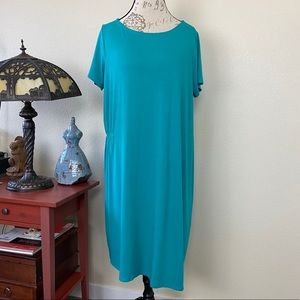 Eileen Fisher Asymmetric Dress Viscosr Jersey Lg